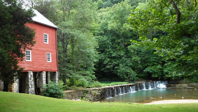 The waterfalls next to the grist mill as they appear today. Not much has changed.