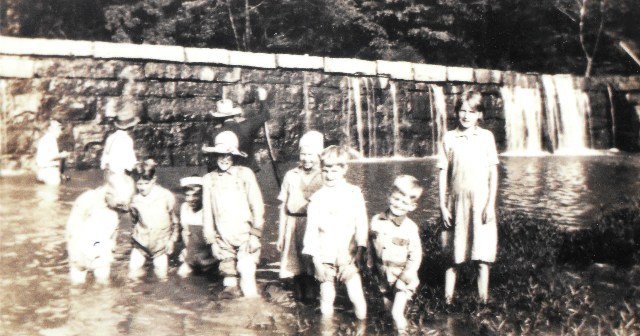 Depression era children at the grist mill. (Photo taken of one of the parks placards.)