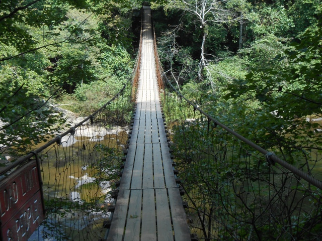 Suspension bridge heading toward Fall Creek Falls.