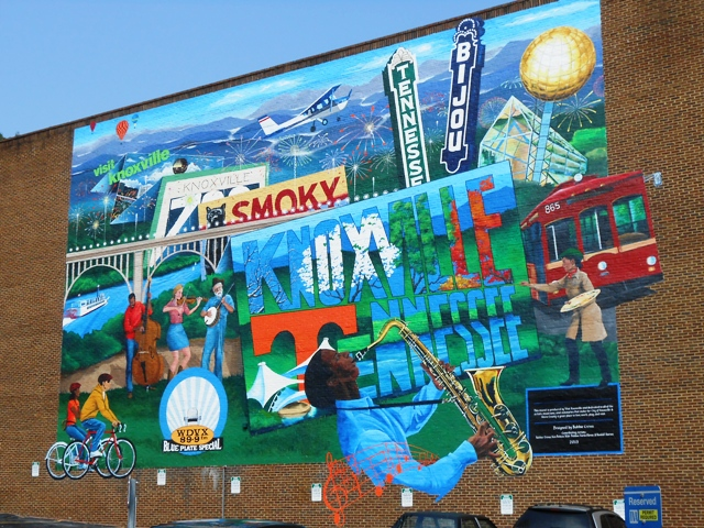 The recently completed mural in downtown on the Visitor's Center building.