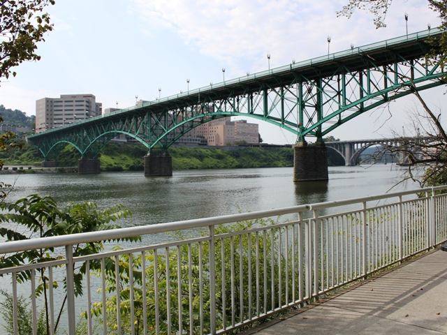 View of the Gay Street Bridge from Volunteer Landing.