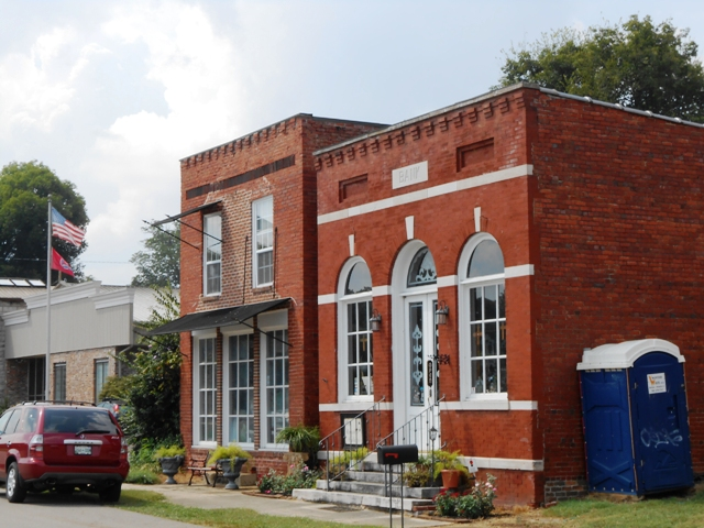Old bank in historic downtown Concord.