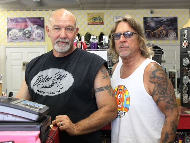 Silas and Jeff at Biker Rags.