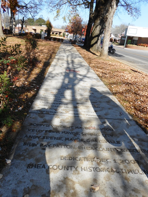 Timeline of Rhea County etched into sidewalk in from of the Courthouse.