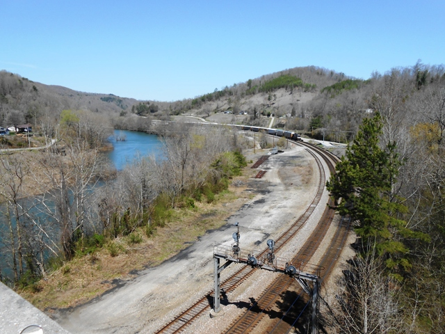 View of railroad track from bridge in Oakdale.