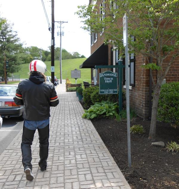 Jeff walking down the brick Dandridge walkway.