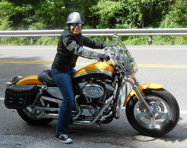 That's Pamo on her Sportster.