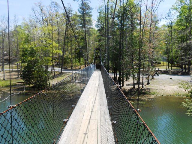 Swinging bridge in Pickett State Park.