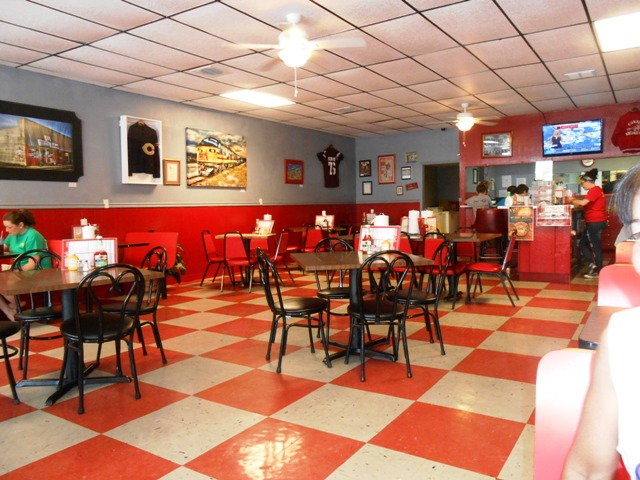 The interior has a fun fifties diner feel.