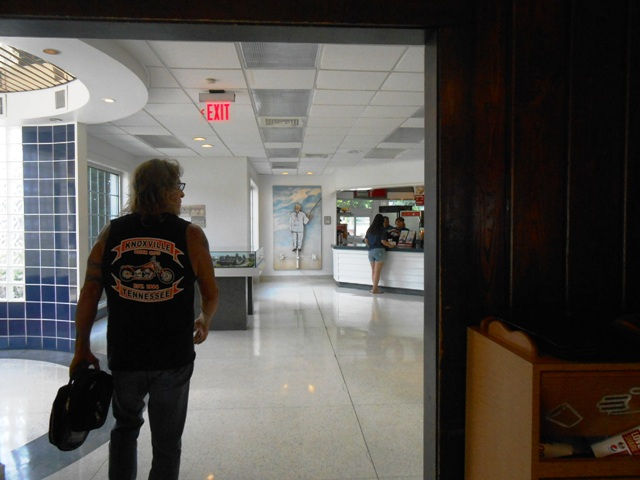 Jeff walking from the old section into the new Kentucky Fried Chicken.
