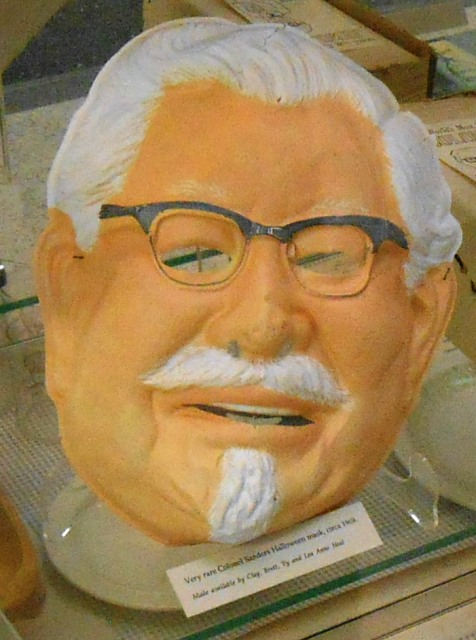 See this Colonel Sanders Halloween mask from 1969? Pamo wore on just like it in 1969 for Halloween! She was seven years old. It was fun thing to remember.