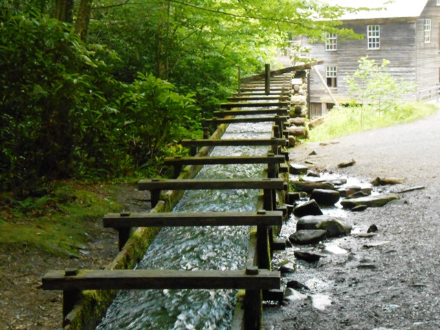 View of the water flow to Mingus Mill.
