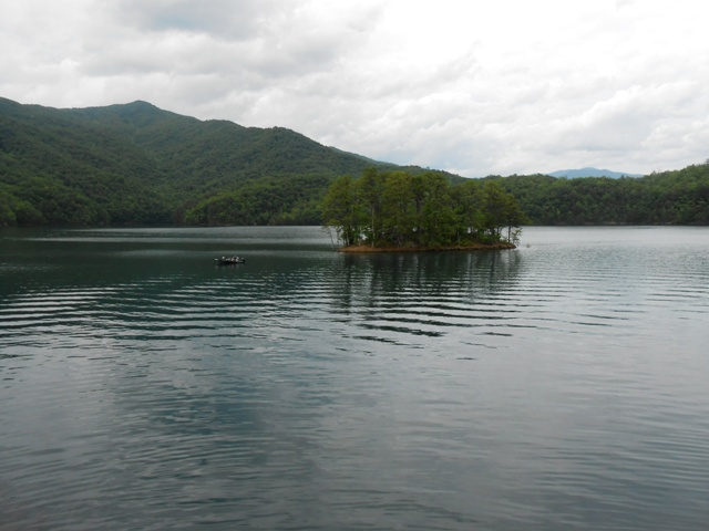 Fontana Lake on top of the dam.