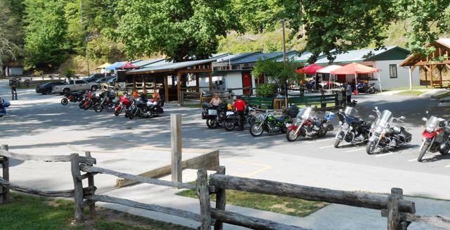Parking lot of Deals Gap Motorcycle Resort