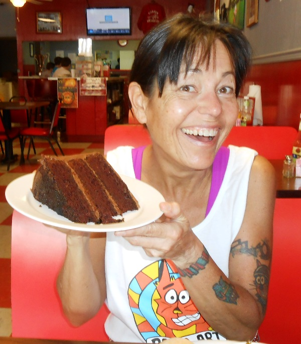 BEST 3 layer chocolate cake in the entire universe... right at The Dixie Cafe!
