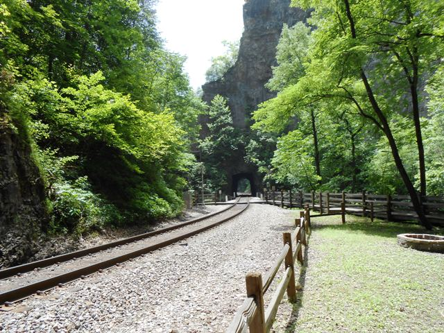 View from Natural Tunnel down the railroad track.