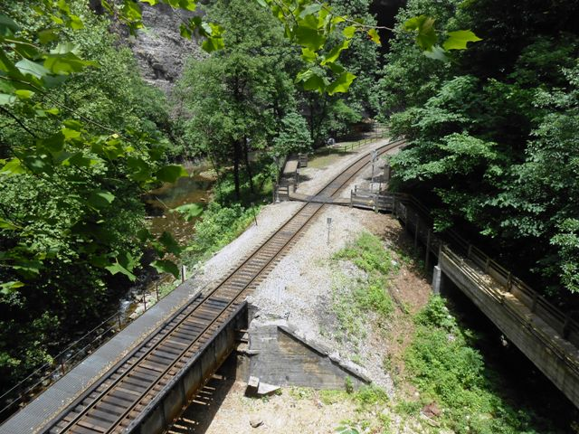 Overlooking railroad.