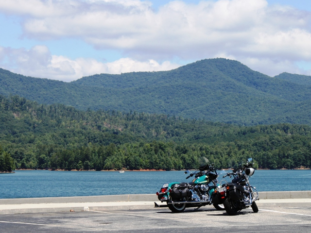 The parking lot at Hiwassee Dam.