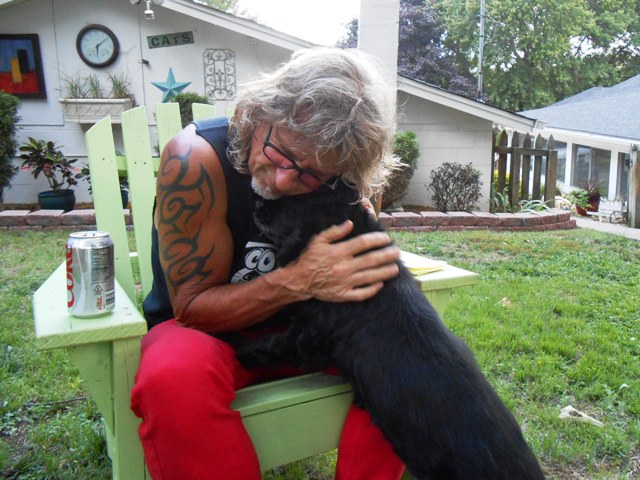 Jeff hugs Mookie. It's always good to be home.