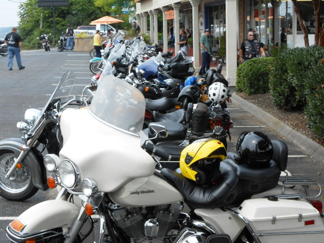 Bikes gather for the ride.