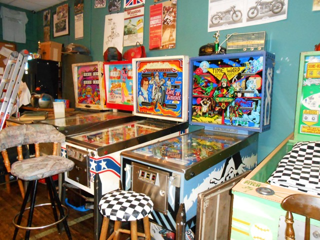 Dan has an awesome collection of vintage pinball machines.