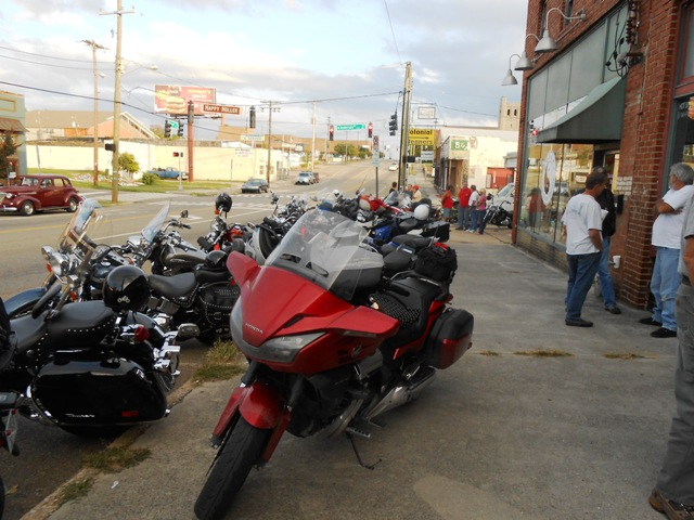 Lots of bikes show up on Tuesday evenings at the Time Warp Tea Room.