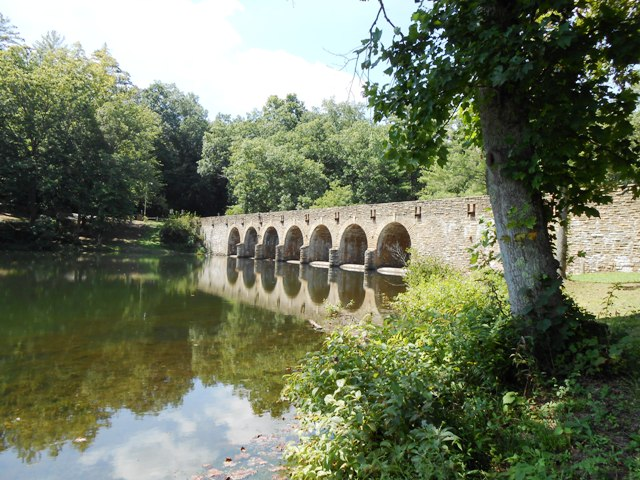 View of the bridge from the opposite side of the lake.