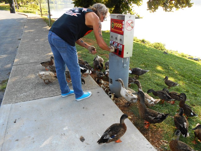 Jeff loves to feed the ducks at 58 Landing in Kingston.