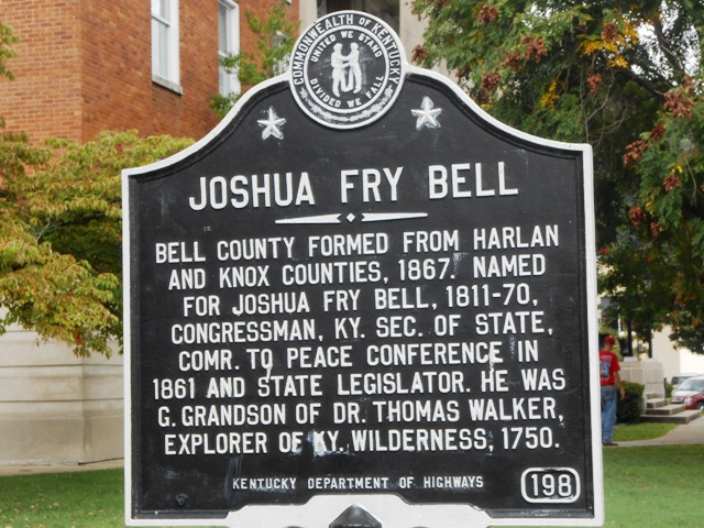 Plaque in Pineville, KY.