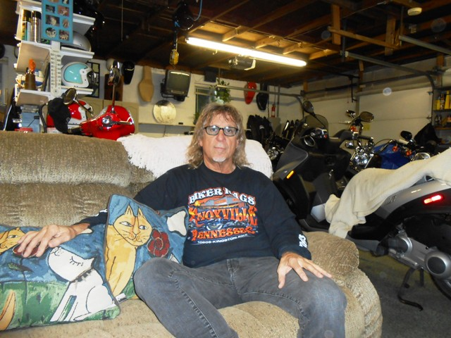 Jeff relaxing in the garage after our long day on the road.