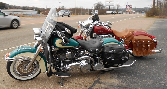 Jeff is ready to lead the ride with Steve W. on his Indian Chief close behind.