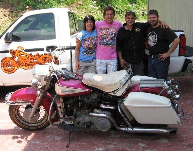 """Picking up """"Fred"""" at Wheels Through Time. Taking him to his new home at Biker Rags. June, 2008. Pictured left to right: Pamo, Jeff, Dale Walksler and his son Matt."""