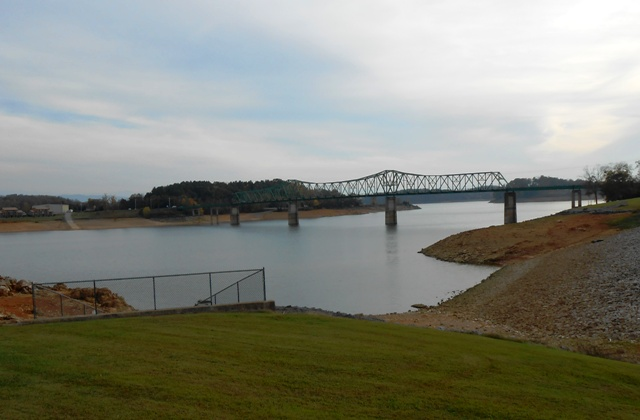 View of bridge from top of levee in Dandridge.
