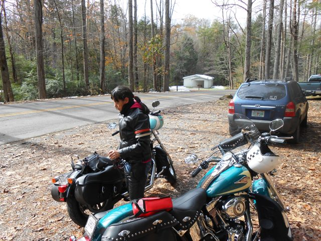 We stopped at the informal parking area just below the Elkmont stairway.