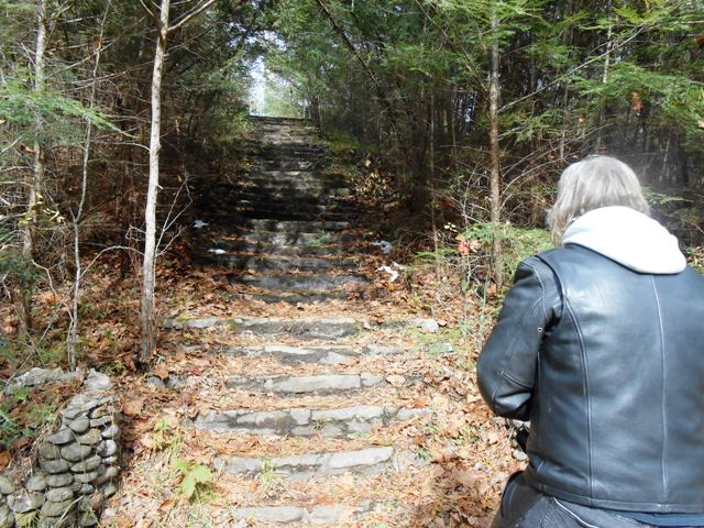 """Stairway up to the Elkmont """"ghost town""""."""