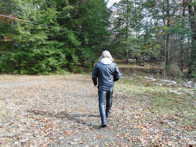 Walking toward the now abandoned village.