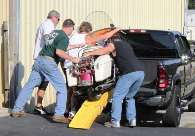 Fred being loaded up. Heading to Gas Monkey Garage in Dallas. September 2012.