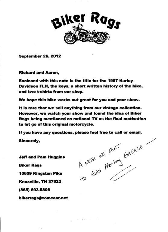 Letter we sent with Fred to Gas Monkey Garage.