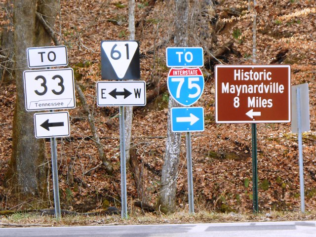 Road signs show the way just outside of Big Ridge State Park.