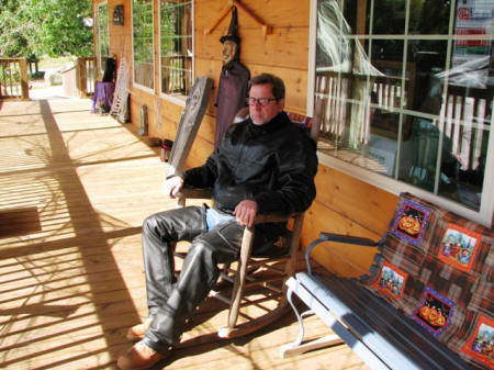 Jeff taking a little rest on the porch at the Tallassee General Store.