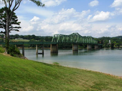 View of the bridge into Dandridge from Angelo's Boat Landing.