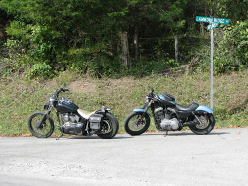 Our bikes at the crossroad of Lambdin Ridge Rd. and Sharps Chapel Rd.