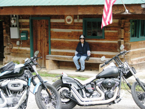 And Pam resting at the Ranger station.