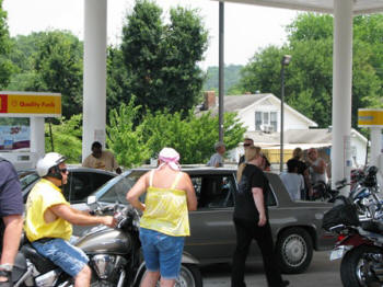 Some riders gas up.