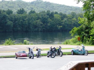 A view of the bikes and the beautiful scenery.