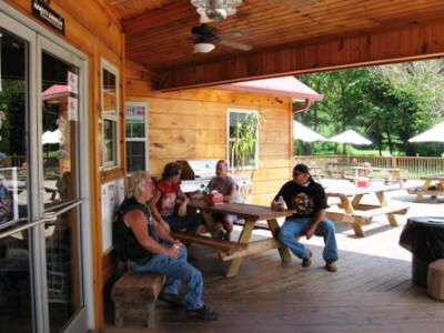 The guys take a break on the great deck at Fast Lap.