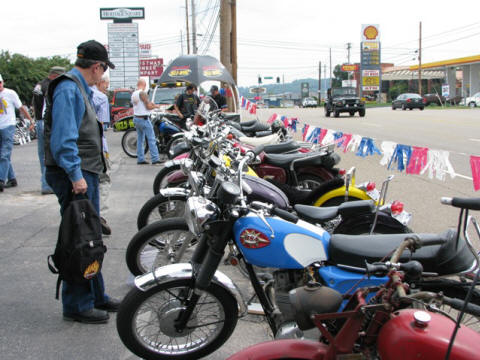 The parking lot was filling up with vintage bikes.