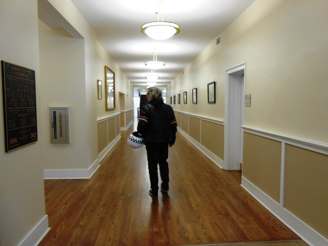Historical information and watercolors of historic Rogersville lined the walls.
