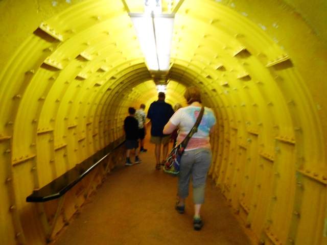 The tour begins by walking through a man made tunnel.