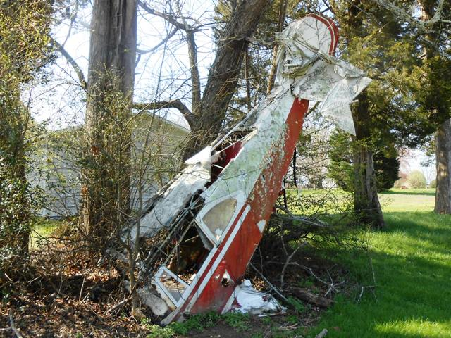 This small craft crash has been in the yard adjacent to Rocky Top for years.